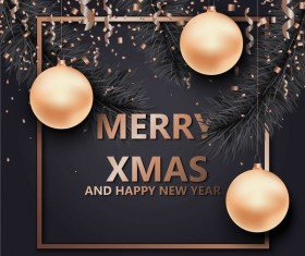 Merry christmas frame and new year background vector