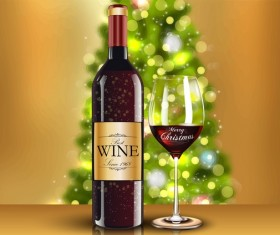 Merry christmas wine with glass cup vector