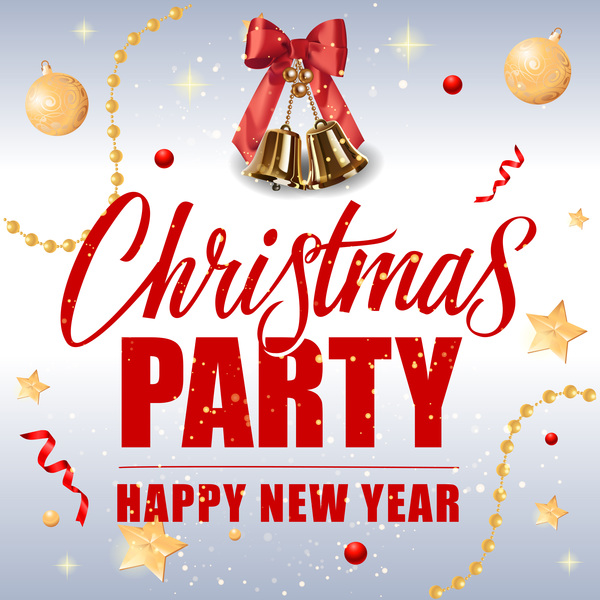 Merry christmas with new year background and golden bell vector