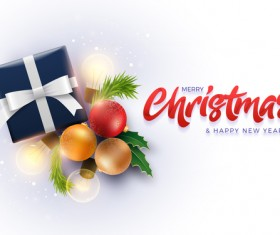 Merry christmas with new year greeting card vectors