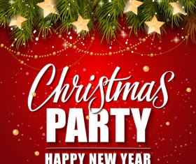 Merry christmas with new year party background vector