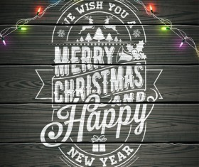 Merry christmas with new year wooden background design vector