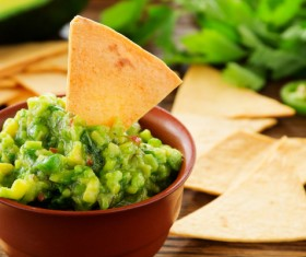 Mexican corn flake guacamole Stock Photo