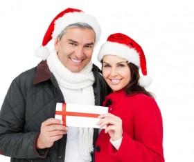 Middle aged couple having fun Christmas Stock Photo