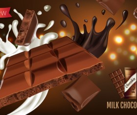 Milk chocolate poster template vector 01