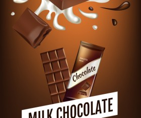 Milk chocolate poster template vector 04