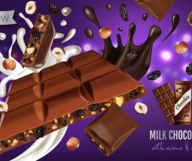 Milk chocolate with nuts and raisin poster template vector 01