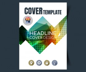 Modern business flyer with brochure cover template vector 02