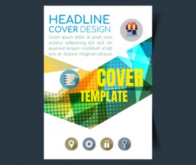 Modern business flyer with brochure cover template vector 03