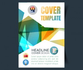 Modern business flyer with brochure cover template vector 05