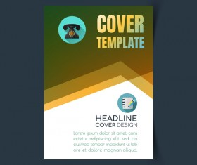 Modern business flyer with brochure cover template vector 07