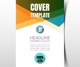 Modern business flyer with brochure cover template vector 08