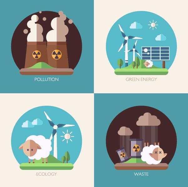 Modern ecological flat banners vector 01