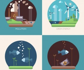Modern ecological flat banners vector 02