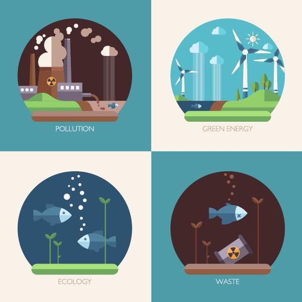 Modern ecological flat banners vector 02