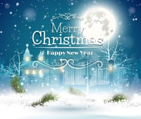 Moon and christmas with new year background vector