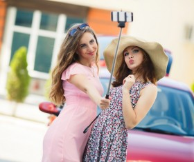 Mother and daughter selfie with smartphone Stock Photo 01