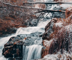 Mountain streams in winter Stock Photo