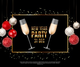 New year party background with christmas balloon vector