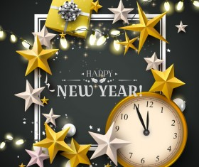 New year stars with gifts and black background vector