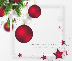 New year with christmas frame with red xmas balls vector