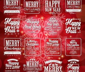 New year with christmas labels and red background vector