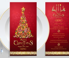 New year with christmas restaurant menu template vector