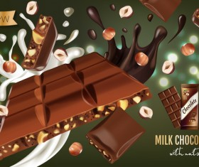 Nuts and chocolate poster template vector 01