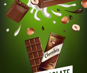 Nuts and chocolate poster template vector 02