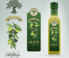 Olive oil bottle label vector