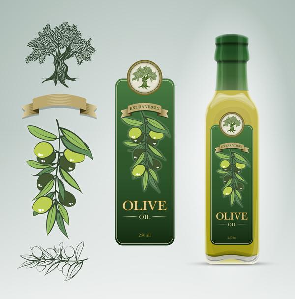 Olive oil bottle label vector