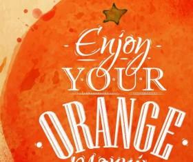 Orange watercolor drawing vector