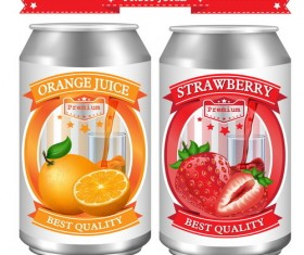 Orange with strawberry juice labels design vector