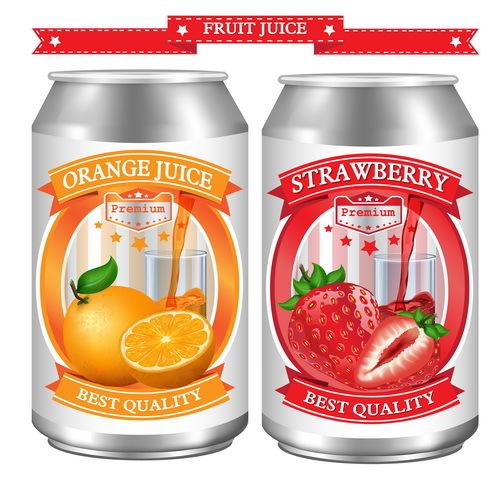 Orange with strawberry juice labels design vector