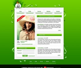 Original design green website psd template