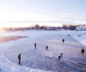 Outdoor ice hockey Stock Photo