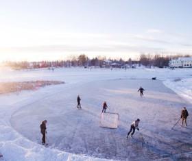 Outdoor ice hockey Stock Photo