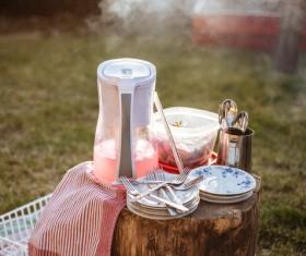 Outdoor tableware Stock Photo