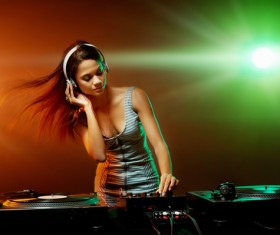 Passion female DJ Stock Photo 01