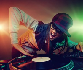Passion female DJ Stock Photo 03