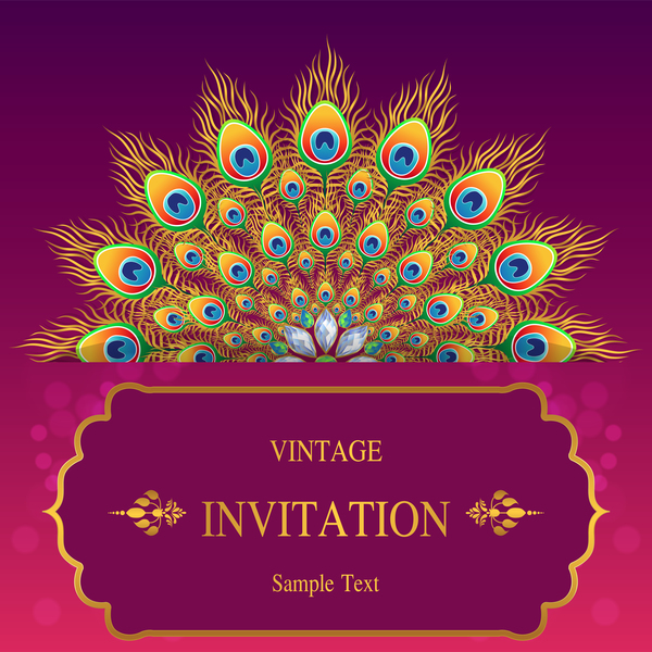 Peacock with vintage invitation card luxury vector 01