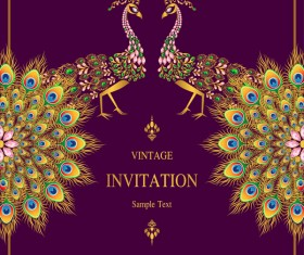 Peacock with vintage invitation card luxury vector 02