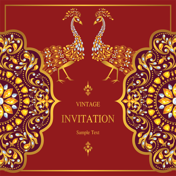 Peacock with vintage invitation card luxury vector 03