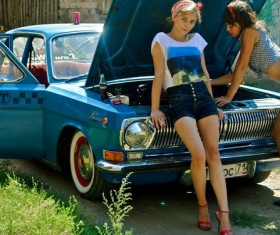 Pretty beautiful female car models Stock Photo
