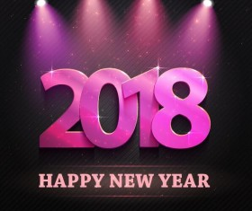Purple spotlights with 2018 new year background vector
