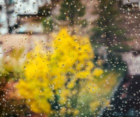 Rainy day glass drops Stock Photo