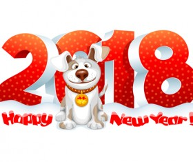 Red 3D 2018 new year text with dog vector
