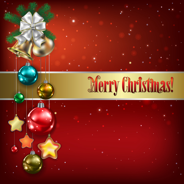 Red background with Christmas bells and decorations vector