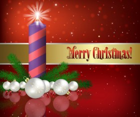 Red background with Christmas candle and decorations vector 01