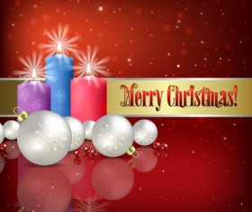 Red background with Christmas candle and decorations vector 02